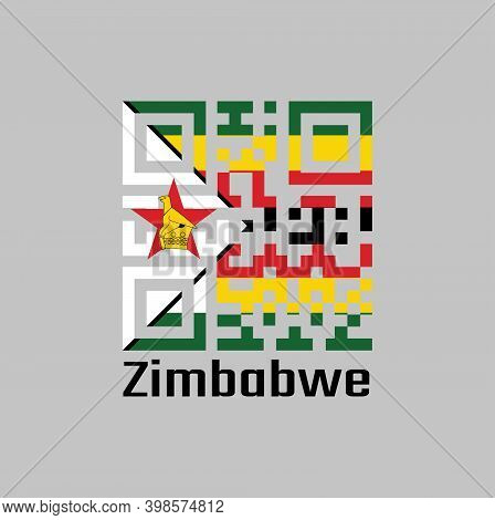 Qr Code Set The Color Of Zimbabwe Flag. Seven Horizontal Stripes Of Green Yellow Red Black With A Bl