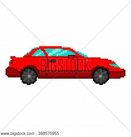Pixel Car Vector Game Art Flat Icon.