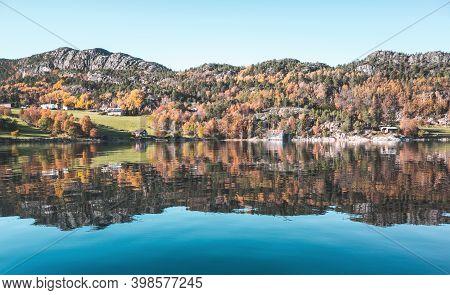 Autumn Norwegian Landscape At Sunny Day. Snillfjord, Sor-trondelag, Vingvagen, Norway