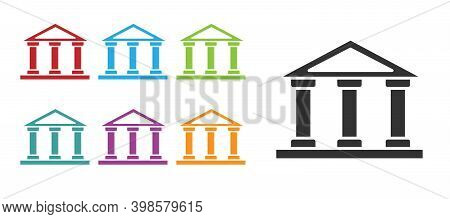 Black Courthouse Building Icon Isolated On White Background. Building Bank Or Museum. Set Icons Colo