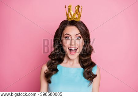 Photo Of Charming Shocked Lady Festive Event Prom Party Recognized As Prom Queen Golden Crown Unexpe