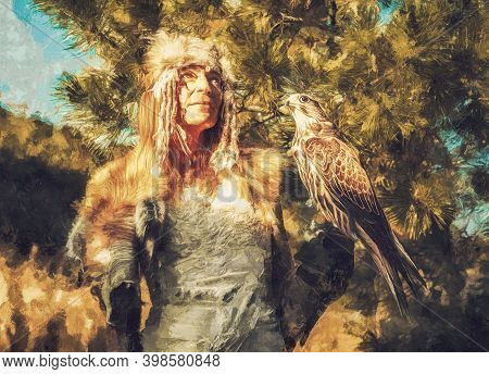 Beautiful Shamanic Woman With Eagle In The Nature. Painting Effect.