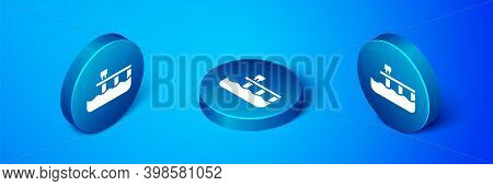 Isometric Beach Pier Dock Icon Isolated On Blue Background. Blue Circle Button. Vector