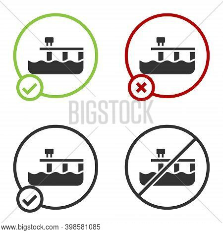 Black Beach Pier Dock Icon Isolated On White Background. Circle Button. Vector