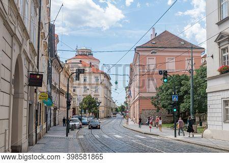 Prague, Czech Republic - July 10, 2020: Cobble Street In Old Town Of Prague.