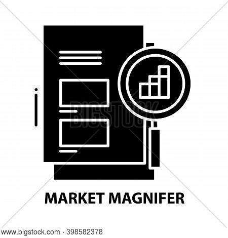 Market Magnifer Icon, Black Vector Sign With Editable Strokes, Concept Illustration