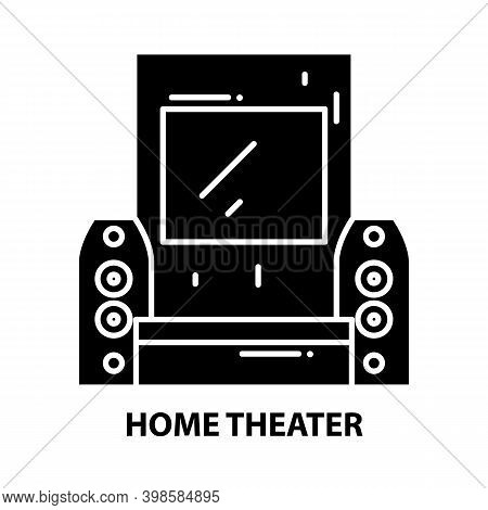 Home Theater Icon, Black Vector Sign With Editable Strokes, Concept Illustration