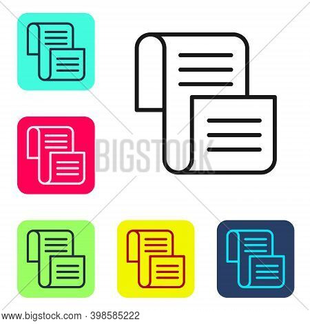 Black Line Decree, Paper, Parchment, Scroll Icon Icon Isolated On White Background. Set Icons In Col