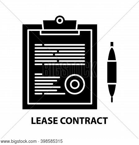 Lease Contract Icon, Black Vector Sign With Editable Strokes, Concept Illustration
