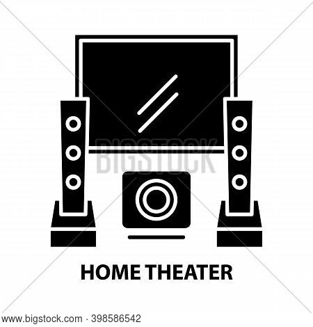 Home Theater Symbol Icon, Black Vector Sign With Editable Strokes, Concept Illustration