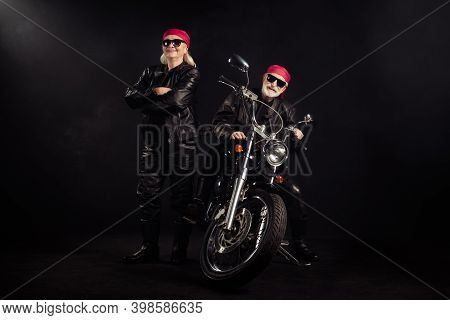 Full Body Photo Of Old Bikers Man Lady Couple Drive Chopper Travel Feel Young Rock Moto Festival Arm