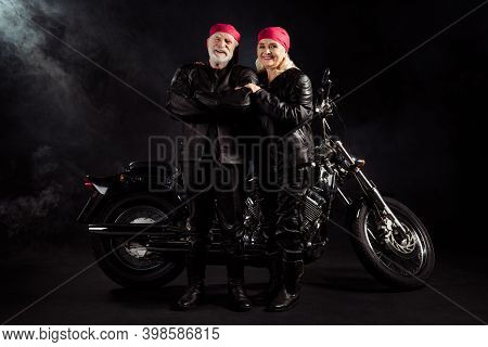 Full Length Photo Of Aged Bikers Grey Hair Man Lady Couple Drive Vintage Chopper Traveling Together
