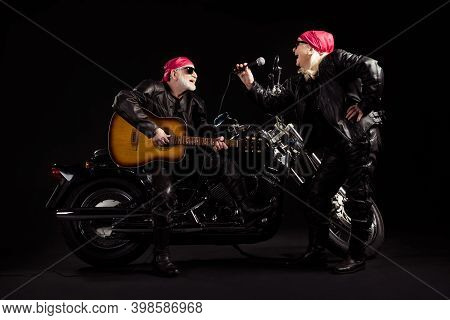 Full Body Photo Of Aged Bikers Man Lady Duet Couple Chopper Moto Rock Festival Meeting Play Guitar S