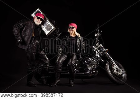 Photo Of Old Bikers Grey Haired Man Lady Couple Moto Chopper Rock Festival Meeting Listen Vintage Ta