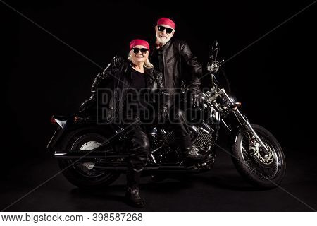 Photo Of Aged Bikers Grey Haired Man Lady Soulmates Couple Sitting On Vintage Chopper Feel Young Goi