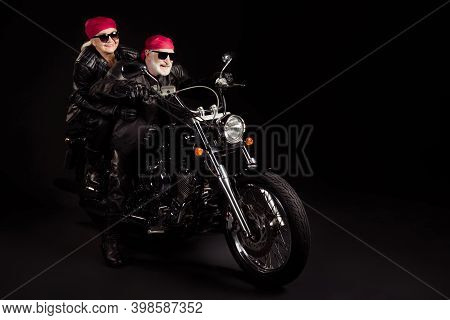 Full Length Photo Of Aged Bikers Grey Haired Man Lady Couple Drive Moto Traveling Rock Festival For