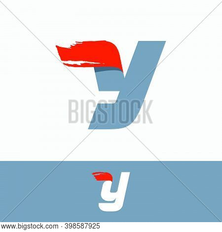 Fast Speed Y Letter Logo With Red Dry Brush Stroke. Oblique Font For Sportswear Labels, T-shirt Prin