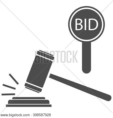 Auction, Bidding, Bid Per Lot. Rate Icon With A Hammer. Vector, Cartoon Illustration. Vector.