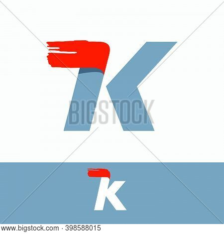 Fast Speed K Letter Logo With Red Dry Brush Stroke. Oblique Font For Sportswear Labels, T-shirt Prin
