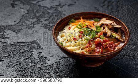 Pork Bone Japanese Style Ramen Noodle Soup With Crispy Bacon, Shiitake Mushrooms And Spring Onions I