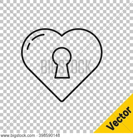 Black Line Heart With Keyhole Icon Isolated On Transparent Background. Locked Heart. Love Symbol And