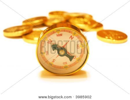 Golden Compass With Golden Coins