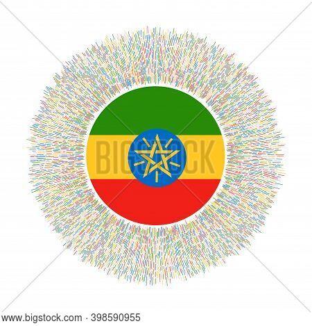 Flag Of Ethiopia With Colorful Rays. Radiant Country Sign. Shiny Sunburst With Ethiopia Flag. Astoni