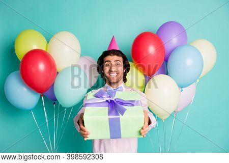 Photo Of Friendly Positive Man Giving Giftbox Colorful Helium Balloons Dressed Formalwear Cone Isola