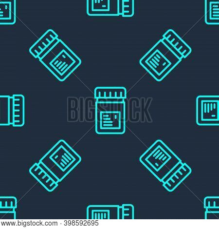Green Line Biologically Active Additives Icon Isolated Seamless Pattern On Blue Background. Vector