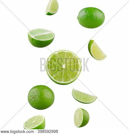 Set Of Falling Limes Isolated On White Background.