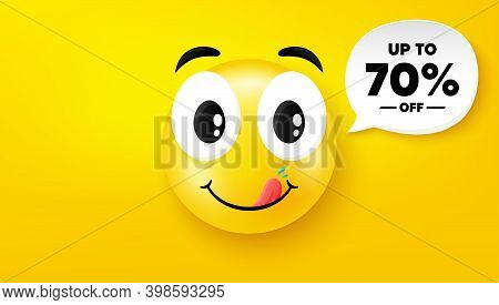 Up To 70 Percent Off Sale. Yummy Smile Face With Speech Bubble. Discount Offer Price Sign. Special O