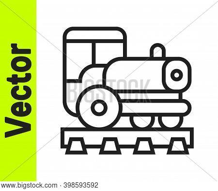 Black Line Vintage Locomotive Icon Isolated On White Background. Steam Locomotive. Vector