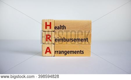 Health Reimbursement Arrangement Symbol. Wooden Cubes And Blocks With Words 'hra, Health Reimburseme