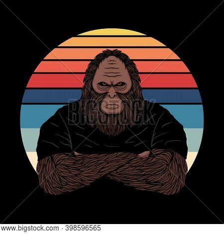 Bigfoot Fierce Face Sunset Retro Vector Illustration For Your Company Or Brand