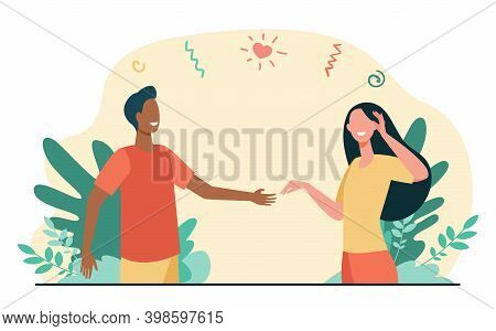 Happy Young Couple Dating Outside. Guy Offering Hand To His Girlfriend Flat Vector Illustration. Dat