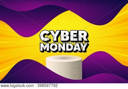 Cyber Monday Sale. Abstract Background With Podium Platform. Special Offer Price Sign. Advertising D