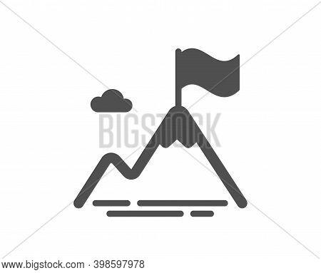 Mountain Flag Icon. Goal Challenge Sign. Leadership Symbol. Quality Design Element. Flat Style Mount
