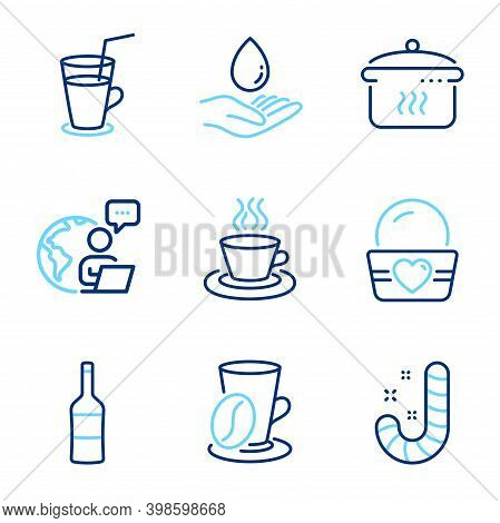 Food And Drink Icons Set. Included Icon As Water Care, Coffee Cup, Cocktail Signs. Boiling Pan, Wine