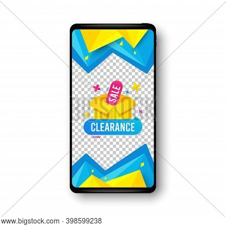 Clearance Sale Banner. Phone Mockup Vector Banner. Discount Sticker Box. Special Offer Icon. Social