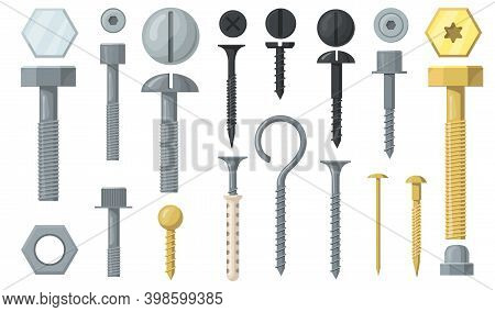 Variety Of Bolts And Screws Flat Set For Web Design. Cartoon Silver Nails, Nuts And Washers Isolated