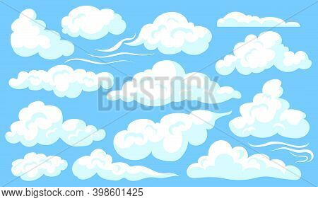 White Clouds Set. Blue Cloudy Sly, Different Shapes Of Soft Clouds, Heaven. Vector Illustrations For