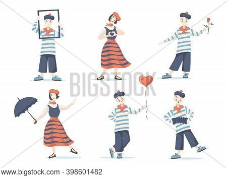 Mimes Cartoon Characters Set. Silent Actor And Actress Performing With Frame, Umbrella, Flower, Ball