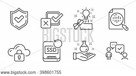 Recovery Ssd, Chemistry Lab And Creative Idea Line Icons Set. Analytics Chart, Checkbox And Confirme
