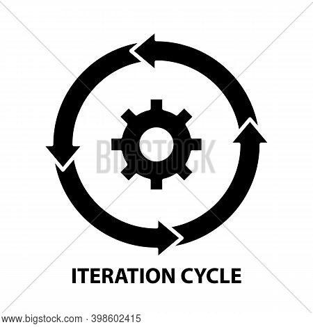 Iteration Cycle Icon, Black Vector Sign With Editable Strokes, Concept Illustration