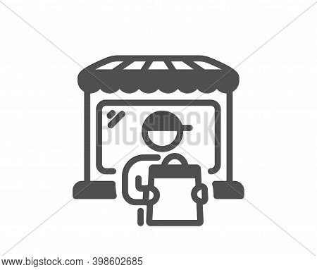 Delivery Market Icon. Store Courier Sign. Retail Marketplace Symbol. Quality Design Element. Flat St