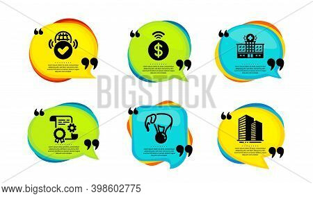 Elephant On Ball, Verified Internet And Contactless Payment Icons Simple Set. Speech Bubble With Quo