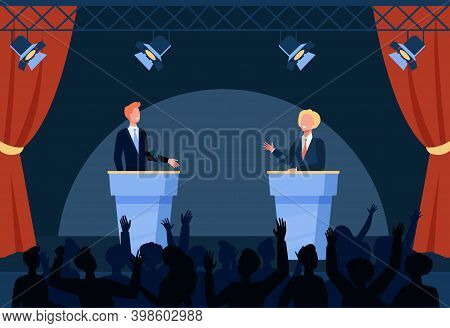 Two Politicians Taking Part In Political Debates In Front Of Audience Isolated Flat Vector Illustrat