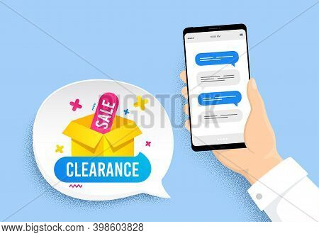 Clearance Sale Banner. Hand Holding Phone With Chat Messages. Discount Sticker Box. Special Offer Ic