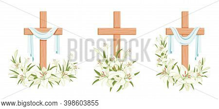 Cross With Lilies. Religious  Easter Symbol. Colorful Set Of Crosses With Lilies And Shroud. Easter