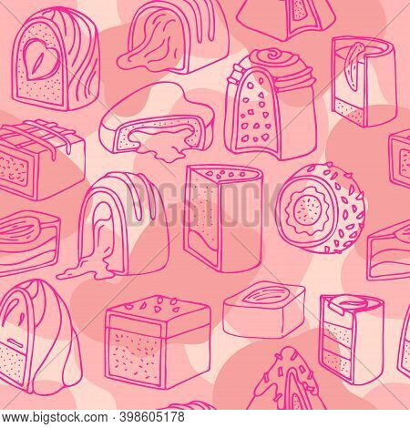 Cartoon Vector Pink Pattern With Fuchsia Outline Chocolate Candies On A Cute Girly Background.
